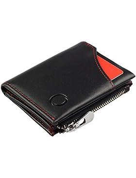 Cartera Inteligente con Monedero – Mini Billetera hecha de Cuero Auténtico con Protección RFID, para hombre y...
