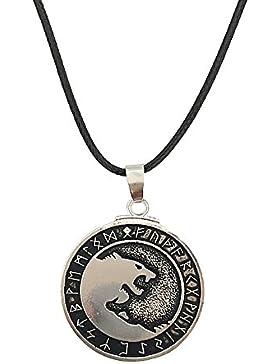 Retro Style Viking Kette, New Nordic Wolf Head Halskette Anhänger für Herren - einstellbar - Zinn Odin's Wölfe...