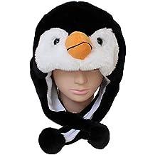 yeah67886Cute Animal Hat Cartoon pingüino Pac Plush Mullido niños presentes invierno cosplay máscara bufanda con orejeras