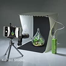 KoTeel Mini Photography Studio Light Tent Light Room Light Box Kit with LED Lighting, Two Background(Black+White),Cell Phone Lens without Power Bank