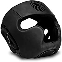 Valour Strike Leather Boxing Head Guard Helmet Headguard ★ MMA Martial Arts Kick Face UFC Fight Training Headgear ★ Sparring Protector Gear Zero Impact ★ All Blacks™