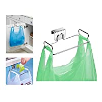 iDesign Classico Trash Bag Stand, Metal Plastic Bag Holder, Ideal Under Sink Storage, Silver, Small
