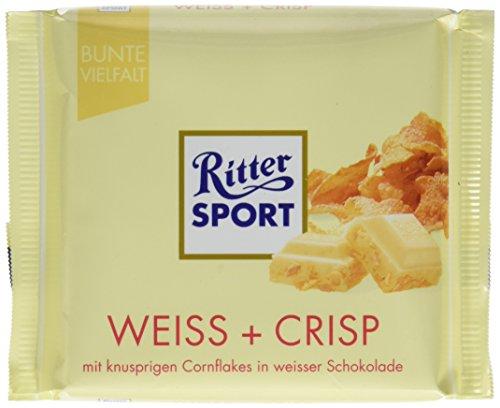 (RITTER SPORT Weiss + Crisp (100 g), Weiße Schokolade mit Crisp, verfeinert mit Cornflakes und Reis-Flakes, Tafelschokolade weiß)