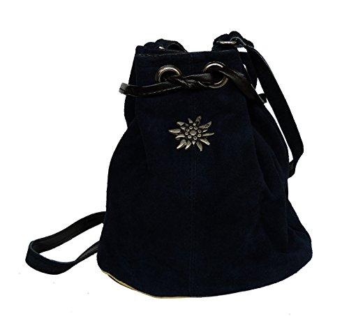 Umhängetasche Wildleder - Trachtentasche Echt Leder - Dirndltasche Beuteltasche Dunkelblau