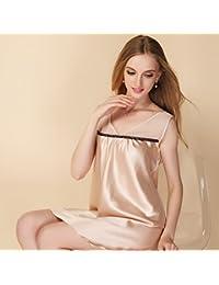 LPPKZQ-verano nightdresses sexy chica de seda fina de color sólido tirantes Pijamas Ropa de verano de seda de hielo ,M,Champán