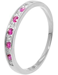 Oro blanco canal Set Diamond Ruby media Eternity Ring