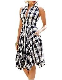 Issza Women's Summer Casual Sleeveless Plaid Button Party Checks Midi Swing?Dress