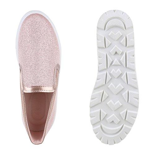 Damen Slip-ons Glitzer Plateau Slipper Metallic Trend Schuhe | Gr. 36-41 | Aktuelle Kollektion Rose Gold Lack
