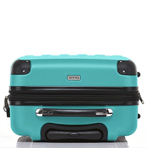SHAIK® Serie BUTTERFLY, FRA 3 Größen, M | L | XL | Set | 45/78/124 Liter Zahlenschloss (Türkis, XL | Großer Koffer) - 5