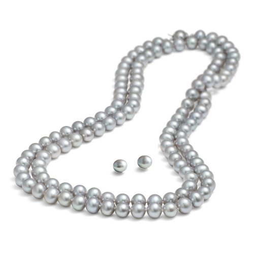 rolicia-8-9mm-65inches-165cm-freshwater-cultured-grey-pearl-necklace-matching-stud-earring-set-in-gi