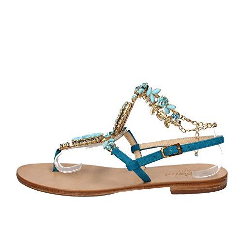 CALPIERRE CAPRI sandali donna 37 EU celeste camoscio AE06