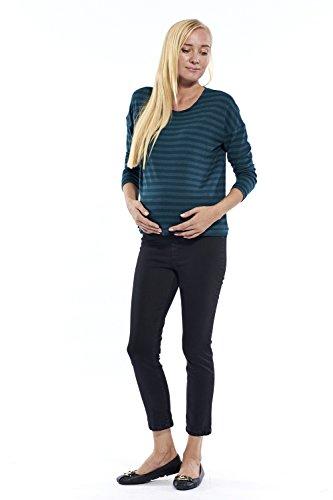 Damen Hose Umstandshose 7/8 Länge, Slim-Fit Chino Hose für die Schwangerschaft knöchellang mit praktischem Gummizug - in verschiedenen Farben Schwarz