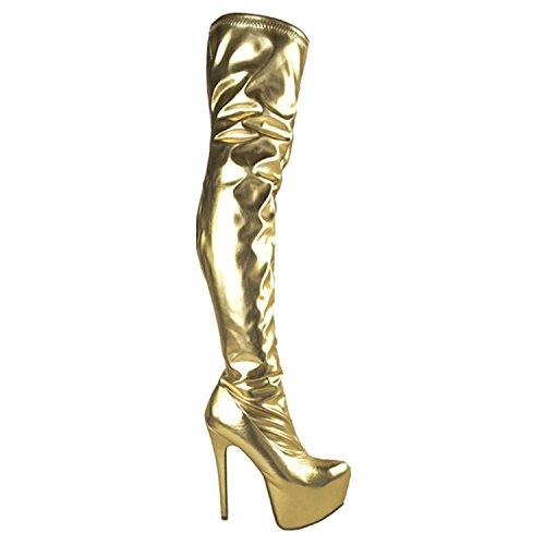 Damen Overknee-Stiefel mit Stretchanteil - High Heels aus Kunstleder - Gold Lackoptik - EUR 37