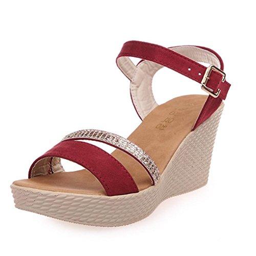 DM&Y 2017 La primavera e l'estate della moda versione coreana di un solido dirigono i pattini di colore opaco di pesce focaccina con sandali a tacco alto. la signora Red
