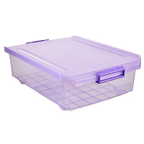 Tatay 1151213 Caja de Almacenamiento Multiusos bajo Cama con Tapa 32 l de Capacidad plástico Polipropileno Libre de bpa, Lila Translúcido, 40 x 56 x 17,5 cm