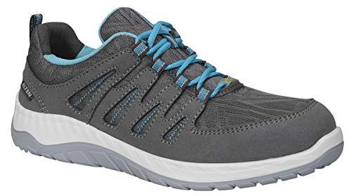 ELTEN Sicherheitsschuhe MADDIE grey Low ESD S1P, Damen, sportlich, leicht, grau/blau, Stahlkappe, schlanke Passform - Größe 41