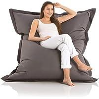 Lazy Bag Original Indoor & Outdoor Sitzsack XXL 400L Riesensitzsack Sitzkissen Sessel für Kinder & Erwachsene 180x140cm (Dunkel-Grau)