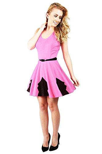 Oops Outlet Damen Cocktailkleid mit Taillengürtel und Faltenrock, ärmellos, Cut-Spitze Skater Swing Plus Midi-Kleid Größe Rosa - Babyrosa