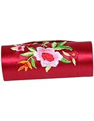 Velishy(TM) Retro Brocade Embroidered Flower Design Lipstick Case Holder Box with Mirror