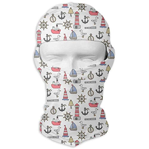 Sdltkhy Cartoon Nautical Men Women Balaclava Neck Hood Full Gesichtsmaske Hat Sunscreen Windproof Breathable Quick Drying White -