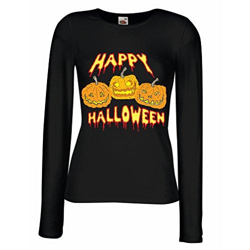 Weibliche langen Ärmeln T-Shirt Happy Halloween! Party Outfits & Costume - Gift Idea (Medium Schwarz (Kostüm Ideen Schaf Schwarzes)