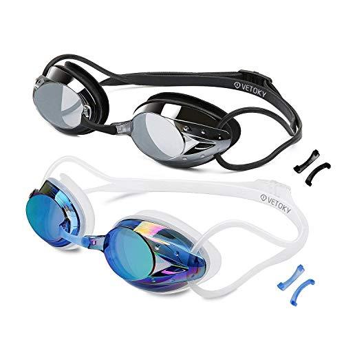 VETOKY [2 Stück Schwimmbrillen, Verspiegelt Schwimmbrille Antibeschlag UV Schutz kein Auslaufen für Erwachsene und Kinder ab 10 Jahren ...