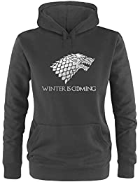 EZYshirt® Game of Thrones | Winter is coming | Schattenwolf Damen Hoodie