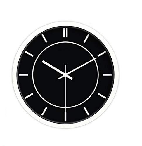 YHEGV Wanduhr Moderne Parlament, einfache Bunte ruhige Wohnzimmer Küche Esszimmer Schlafzimmer Wand Metall Stunden Aufnahme Retro Wanduhr 25 cm/30 cm/35 cm, schwarz, 30 cm