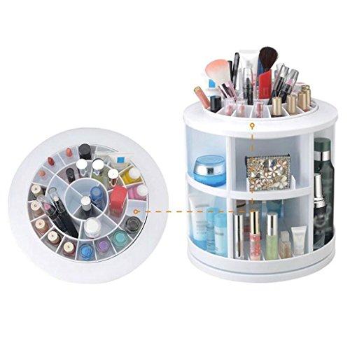 BBYE 360 ° Rotated Rack De Stockage Cosmétique / Bureau Plastique Finishing Rack / Dresser Bijoux Racks ( couleur : Blanc )