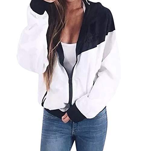 URSING Frauen Langarm Patchwork Dünne Skinsuits mit Kapuze Reißverschluss Sportmantel mit Taschen Kapuzenjacke Wasserdicht Atmungsaktiv Leichte Outdoor Hoodie Windbreaker Trenchcoat (M, Weiß 02) -
