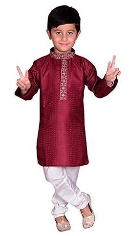 Indien pakistanaise garçons Sherwani Kurta et churidar kameez pour Bollywood Diwali Parti 888 - rouge - 0 (6 mois à 1 ans)