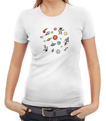 Raumfahrer Damen T-Shirt mit Astronauten im Weltall Motiv von ShirtStreet Weiß