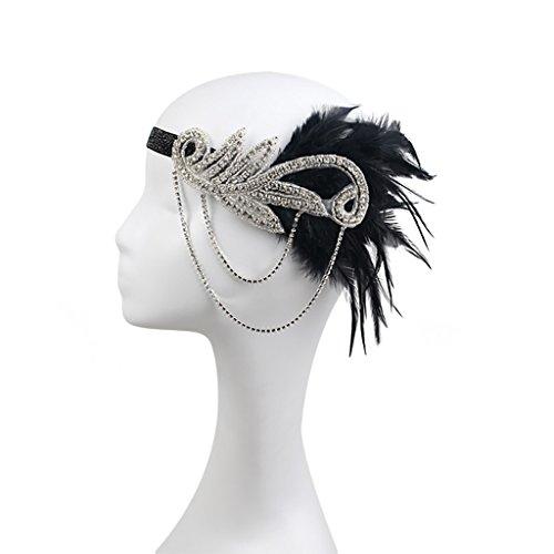 dressfan Vintage Flapper Kleid Quaste Feder mit kleinen Diamanten Kopfschmuck Stirnband Cocktail Party Pferde Mädchen Frauen ()