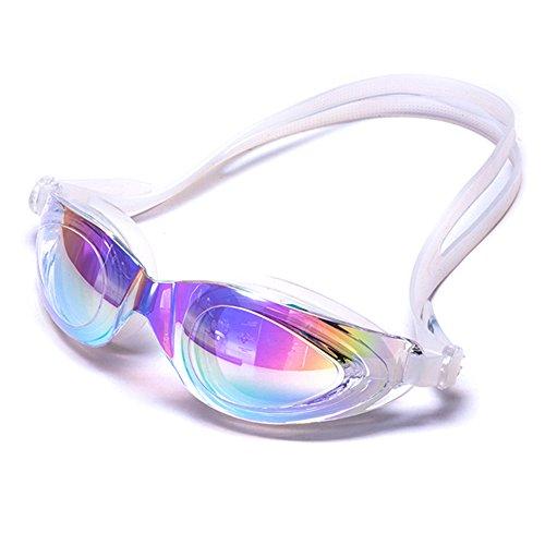 ZHAGOO Schwimmbrille, Schwimmbrille, Schwimmbrille Für Erwachsene Männer Frauen Jugend Kinder Kind, Anti-Fog UV-Schutzgläser, Optik Taucherbrille,White (Sphere-schutzhülle Aqua)