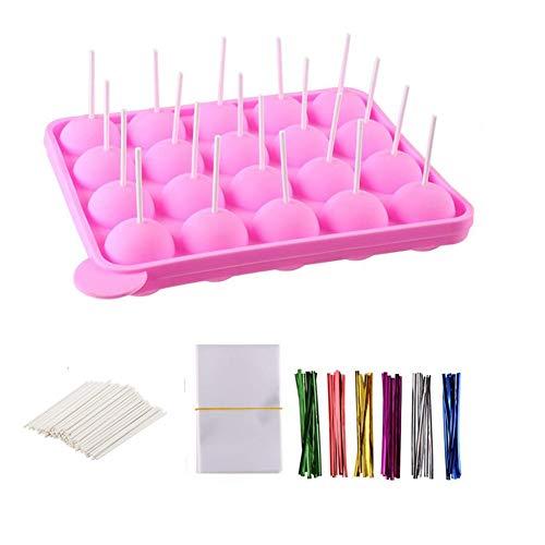 Silikonform für Cake Pops, BPA-frei, mit 100 Cake Pop-Sticks + 100 Leckerlibeutel + 100 Twist-Bänder in verschiedenen Farben, ideal für harte Süßigkeiten, Lutscher, Cake Pop und Party Cupcake
