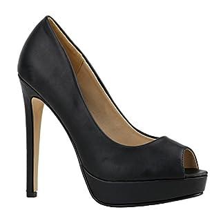 Damen Pumps Spitze Strass High Heels Stiletto Peeptoes Schuhe 130894 Schwarz Glatt 39 | Flandell
