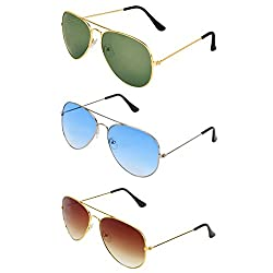 Zyaden Combo of Aviator, Aviator and Aviator sunglasses- COMBO 2913