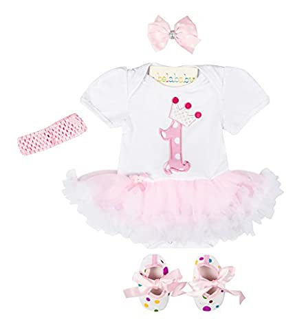 balababy Baby Girls Floral Romper Suit 1st Birthday Party Dresses Shoes with Headband