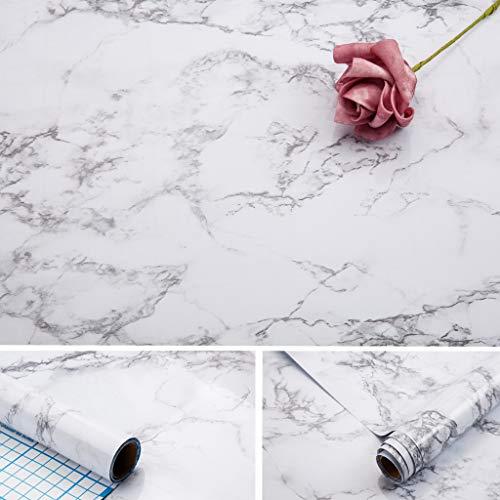 Carta per contatti in marmo,43.5x254 cm auto-adesivo in pvc vinile impermeabile,oil-proof, carta di granito in marmo bianco/grigio, carta vinilica in marmo per mobili antichi superficie di copertura...
