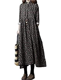 4cd8faaa09d BUYKUD Women  Cotton Linen Floral Shirt Skirt Loose Plue Size Long-Sleeved  Dress