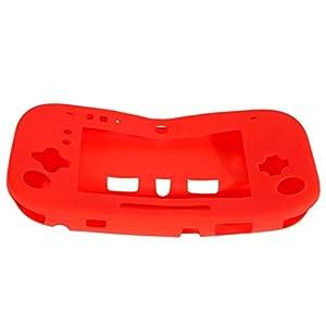 chinatera Silikon Case Cover Haut Displayschutzfolie für Nintendo Wii U Gamepad Controller rot