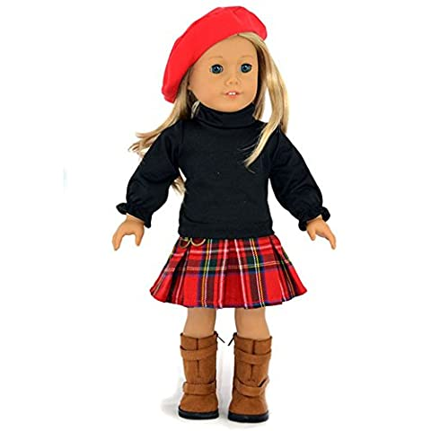 Ebuddy School Outfit Sets T-shirt Hat Skirt Doll Clothes For 18 inch American Girl