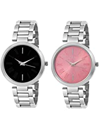 A Square Super Quality Premium Analog Watches Combo Set for Women Pack of - 2 JL-B-P