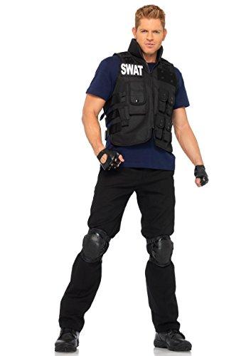 Leg Avenue 83682 - 4Tl. Swat Einsatzleiterin Kostüm Set Mit Utility Vest, Shirt, Knee Pads, Fingerlose Handschuhe, Herrenkostüm Einheitsgröße (Swat Kostüm Shirt)