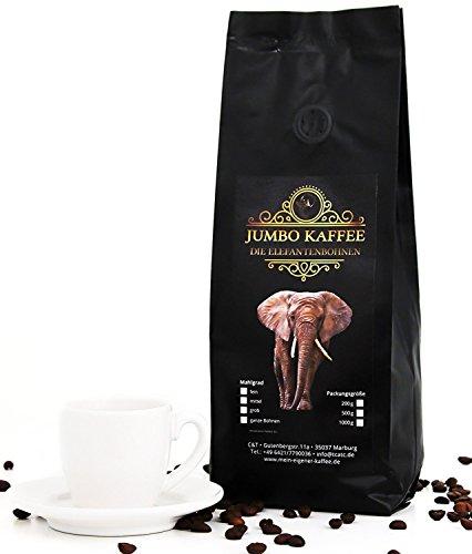 Jumbo Kaffee | Elefantenkaffee Maragogype (1000 g, Ganze Bohnen) - Die größten Bohnen der Welt, ohne Säure, extra mild (Röstung Kaffee Helle Bohnen,)