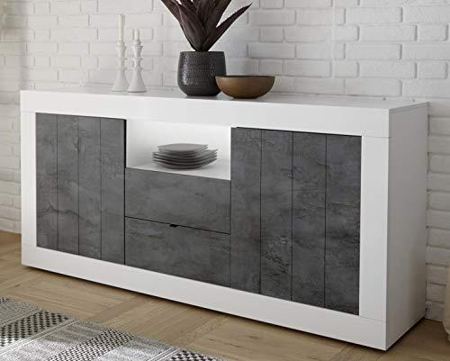 Mobile contenitore 2 ante 2 cassetti moderno bianco lucido ante con serigrafia effetto ossido grigio scuro soggiorno madia buffet con sportelli design urbe 07