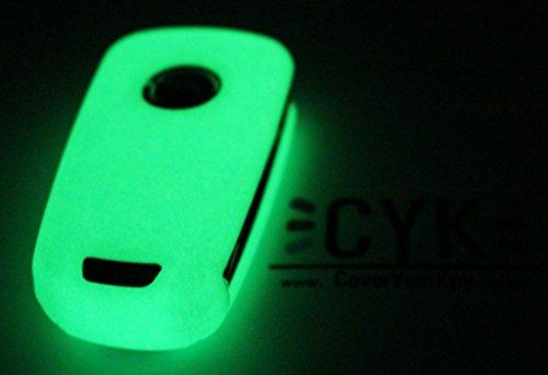 Preisvergleich Produktbild Schlüssel Hülle OC für 3 Tasten Auto Schlüssel Silikon Cover von Finest-Folia (Nachtleuchtend)