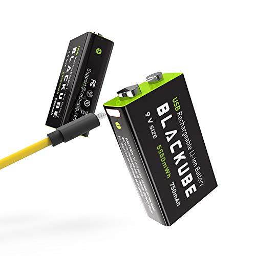 Blackube 9v Block Batterien 750mAh Lithium-Akku - 1,8 Stunden Schnellladung über Micro-USB-1000-Zyklen für Rauchmelder-Brandmelder-Multimeter (2er-Pack