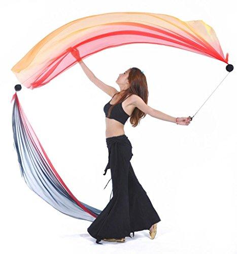 Wgwioo Silk Schal Poi Geworfen Bälle Für Professionelle Bauchtanz Requisiten (Farbverlauf Farbe) . 16# . (Kostüme Für Dance Verwendet Latin Verkauf)