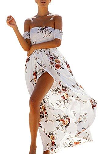 Femme Robe de plage Bohme Longue Floral Ete Sexy Bas Irrgulire Plisse Style Epaule nu Col Be